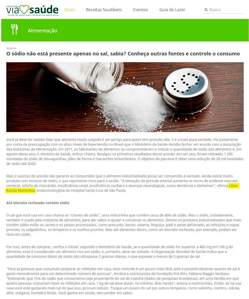 O sódio não está presente apenas no sal